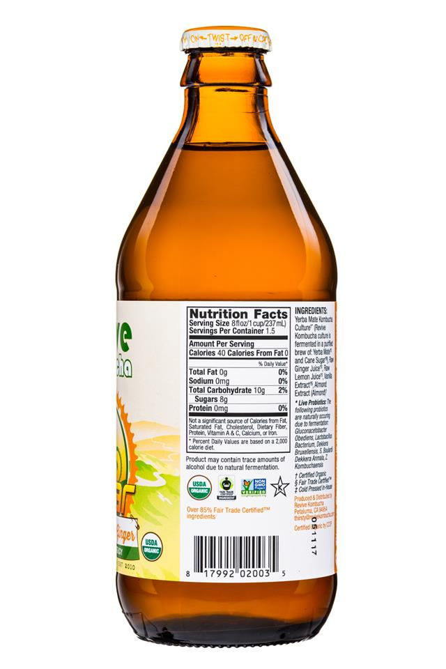 Revive Kombucha: ReviveKombucha-12oz-Solar-YerbaMateGinger-Facts