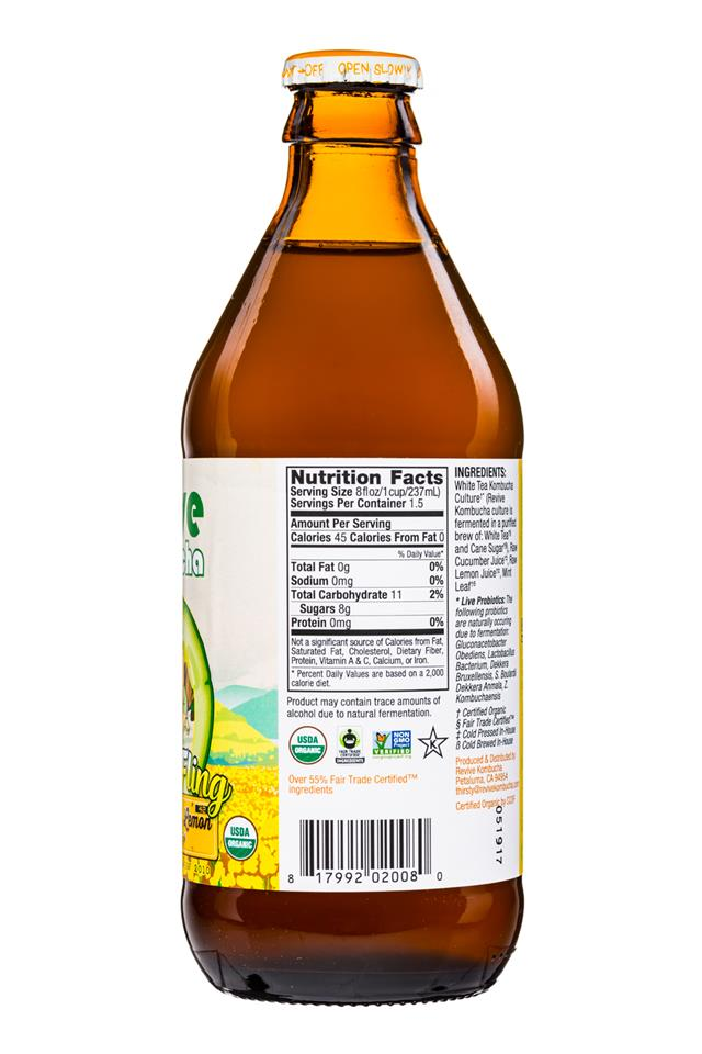 Revive Kombucha: ReviveKombucha-12oz-SpringFling-CucumberMintLemon-Facts