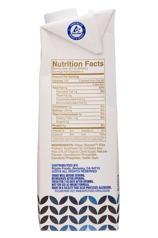 Ripple Foods: Ripple-32oz-BaristaStyle-PBMilk-Facts