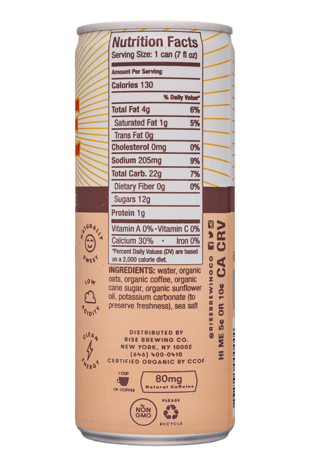 Rise Brewing Co.: Rise-7oz-NitroLatte-OatMilk-Facts