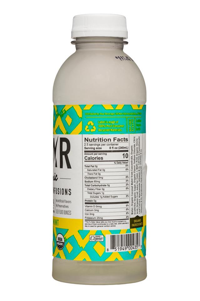 Roar: Roar-Organic-17oz-Electrolyte-PineappleMint-Facts