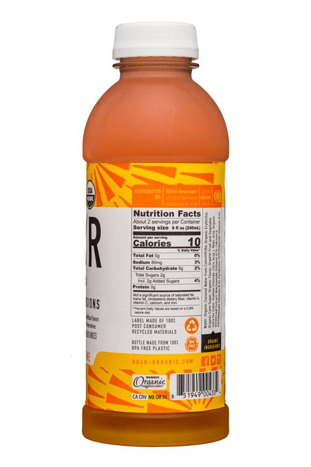 Roar: Roar-Organic-18oz-Electrolyte-MangoClementine-Facts