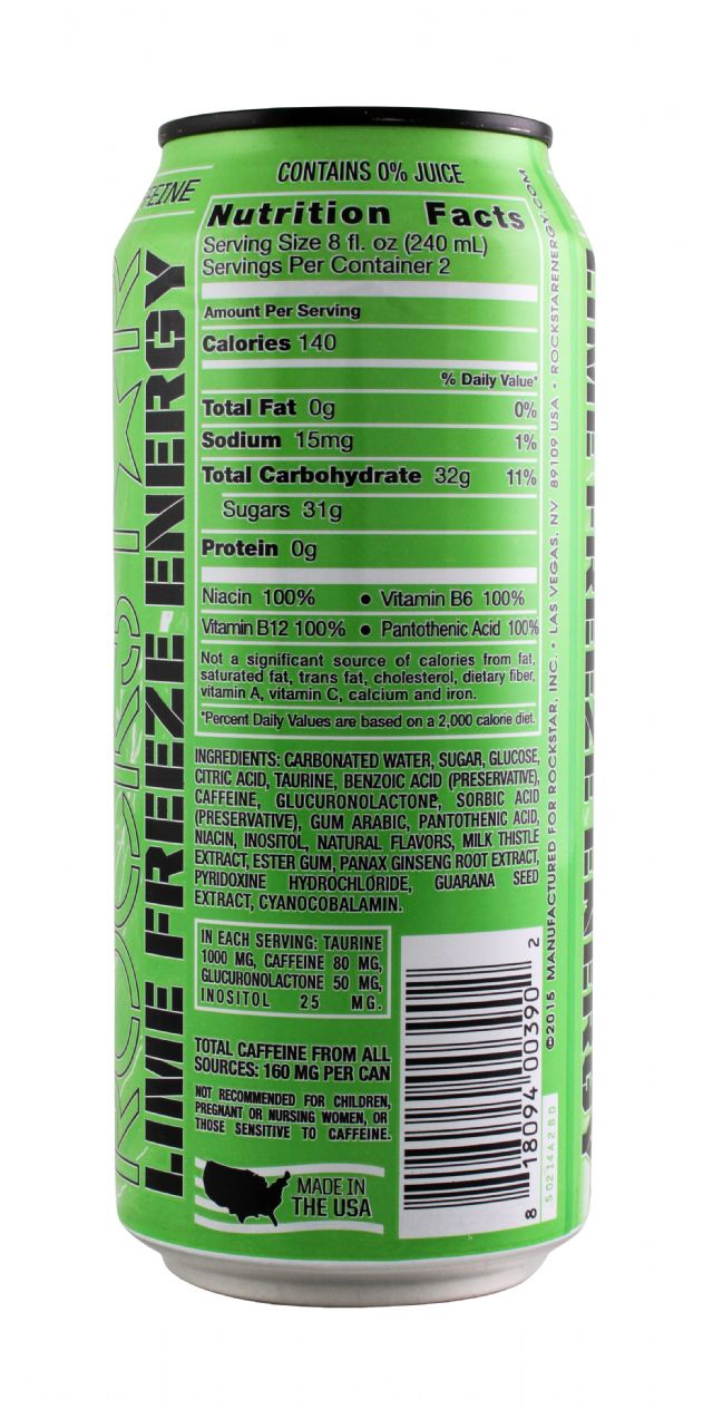 Rockstar Energy Drink: Rockstar FrozenLime Facts