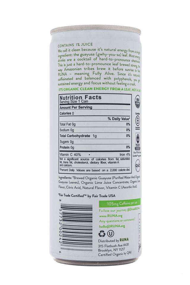 Runa Clean Energy: Runa-Energy-Lime-Facts