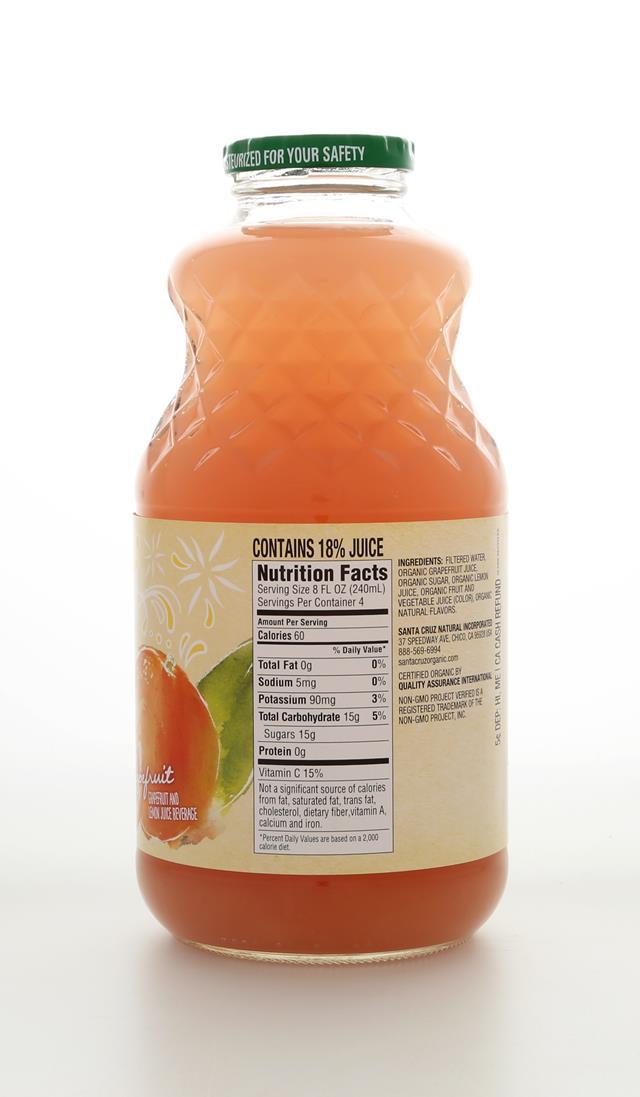 Santa Cruz Organic: SantaCruz AguaFrescaGrapefruit Back