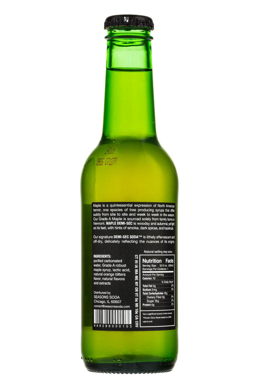 Seasons Soda: SeasonsSoda-8oz-NorthEast-Maple-Facts