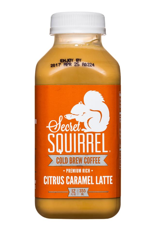 Secret Squirrel Cold Brew Coffee: SecretSquirrel-ColdBrew-12oz-CitrusCaramelLatte-Front