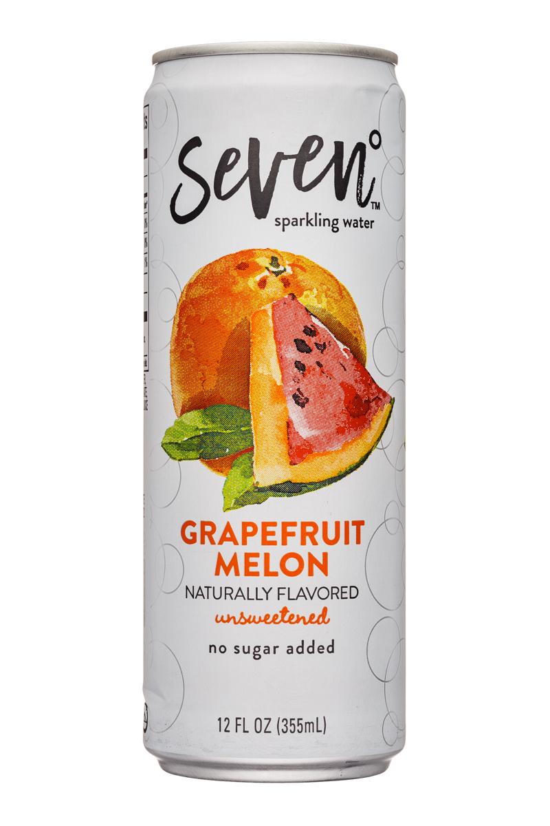 Seven Sparkling: SevenDegrees-12oz-SparklingWater-GrapefruitMelon-Front