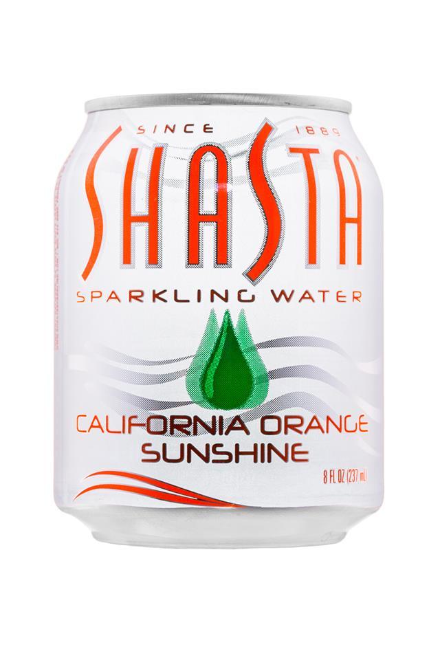 Shasta Sparkling Water: Shasta-8oz-SparklingWater-CalforniaOrangeSunshine-Front