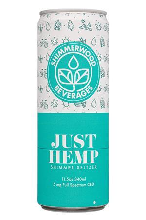 Shimmerwood Beverages: ShimmerwoodBeverages-12oz-2020-Seltz-JustHemp-Front