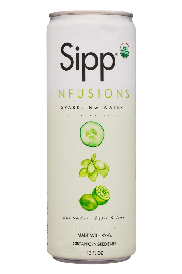 Sipp: Sipp-12oz-Infusions-SparklingWater-CucumberBasilLime-Front