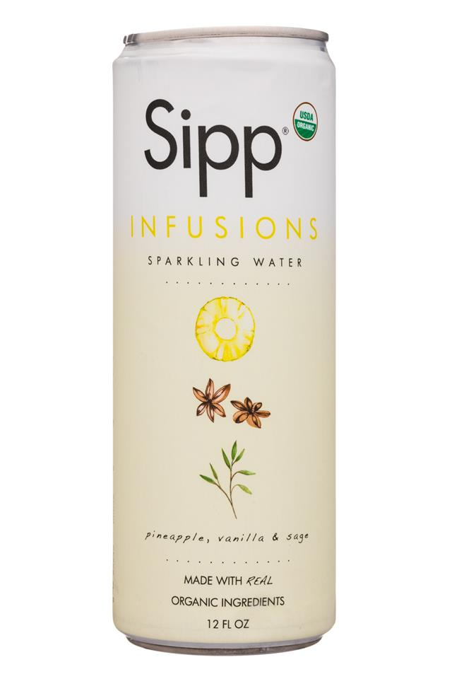 Sipp: Sipp-12oz-Infusions-SparklingWater-PineappleVanillaSage-Front