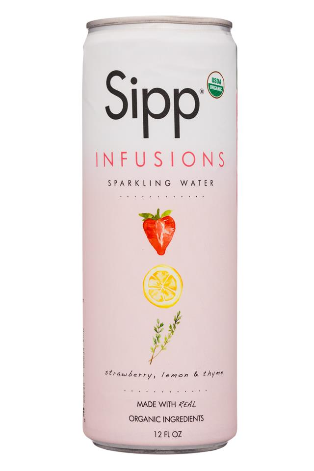 Sipp: Sipp-12oz-Infusions-SparklingWater-StrawbLemonThyme-Front