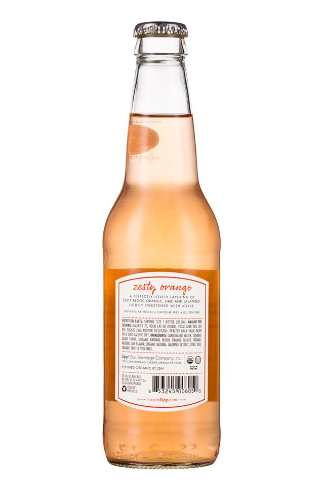 Sipp: Sipp-12oz-Bottle-ZestyOrange-Facts