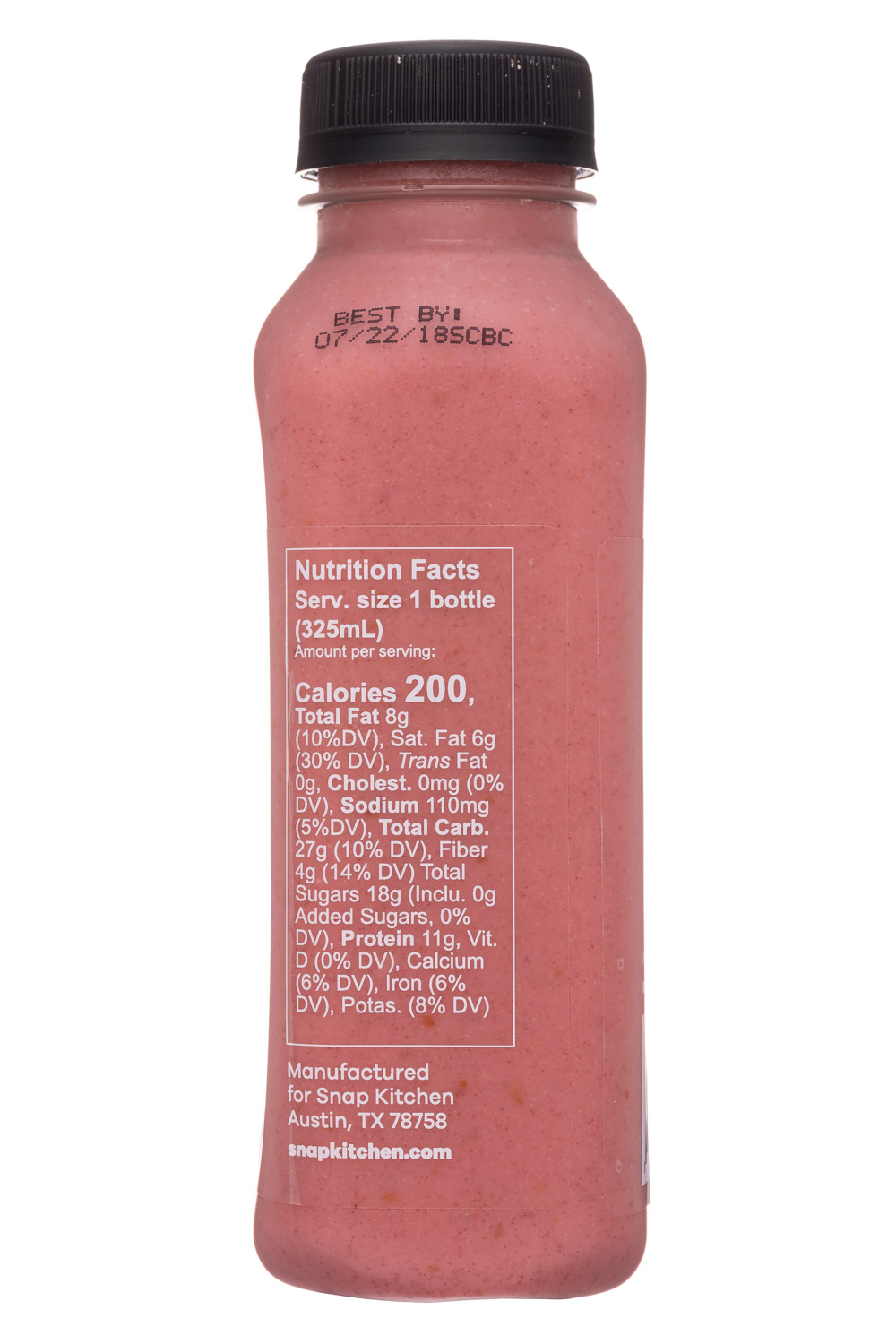 Snap Kitchen: SnapKitchen-11oz-ProteinShake-ChiaBerryBoost-Facts