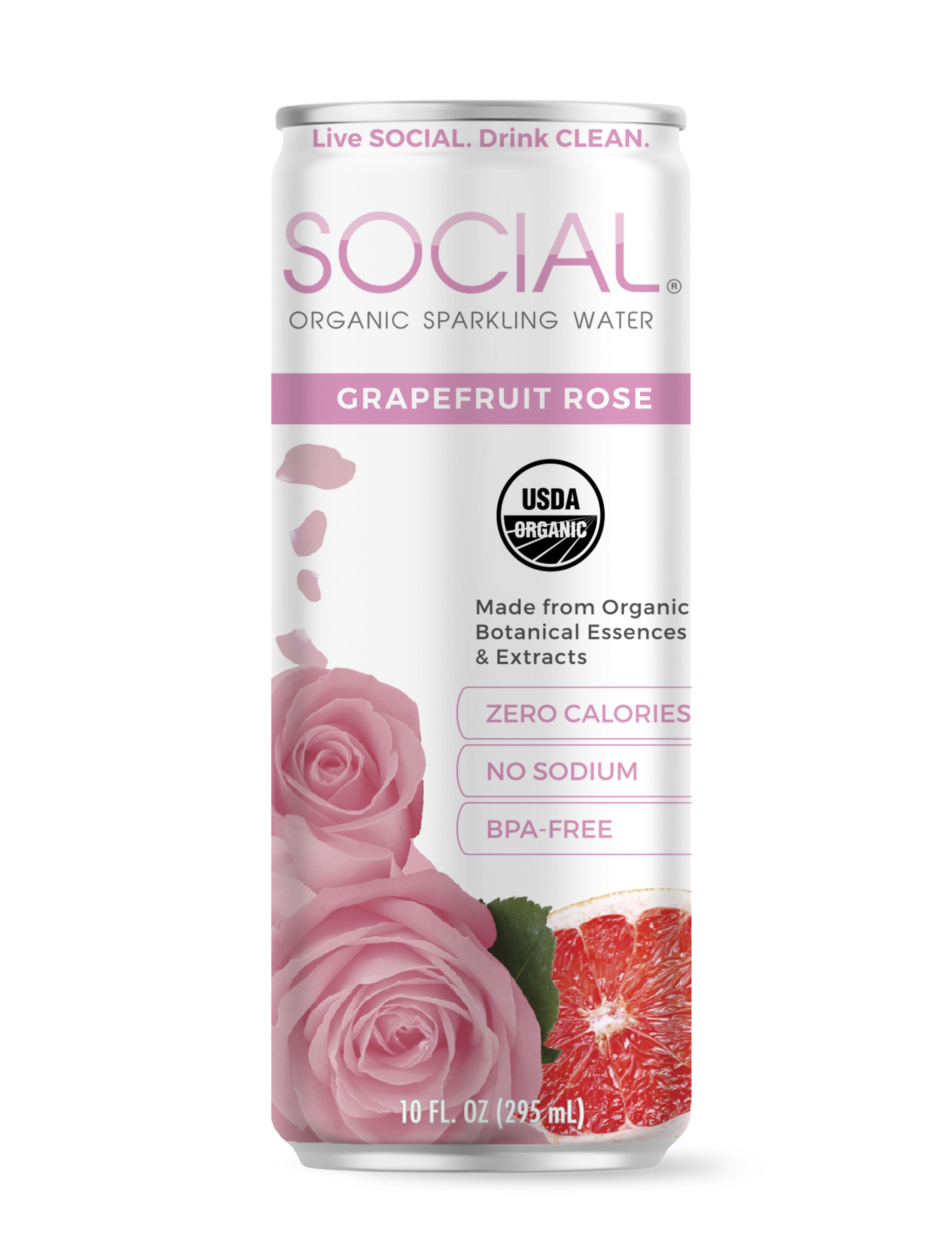 SOCIAL Grapefruit Rose Sparkling Water