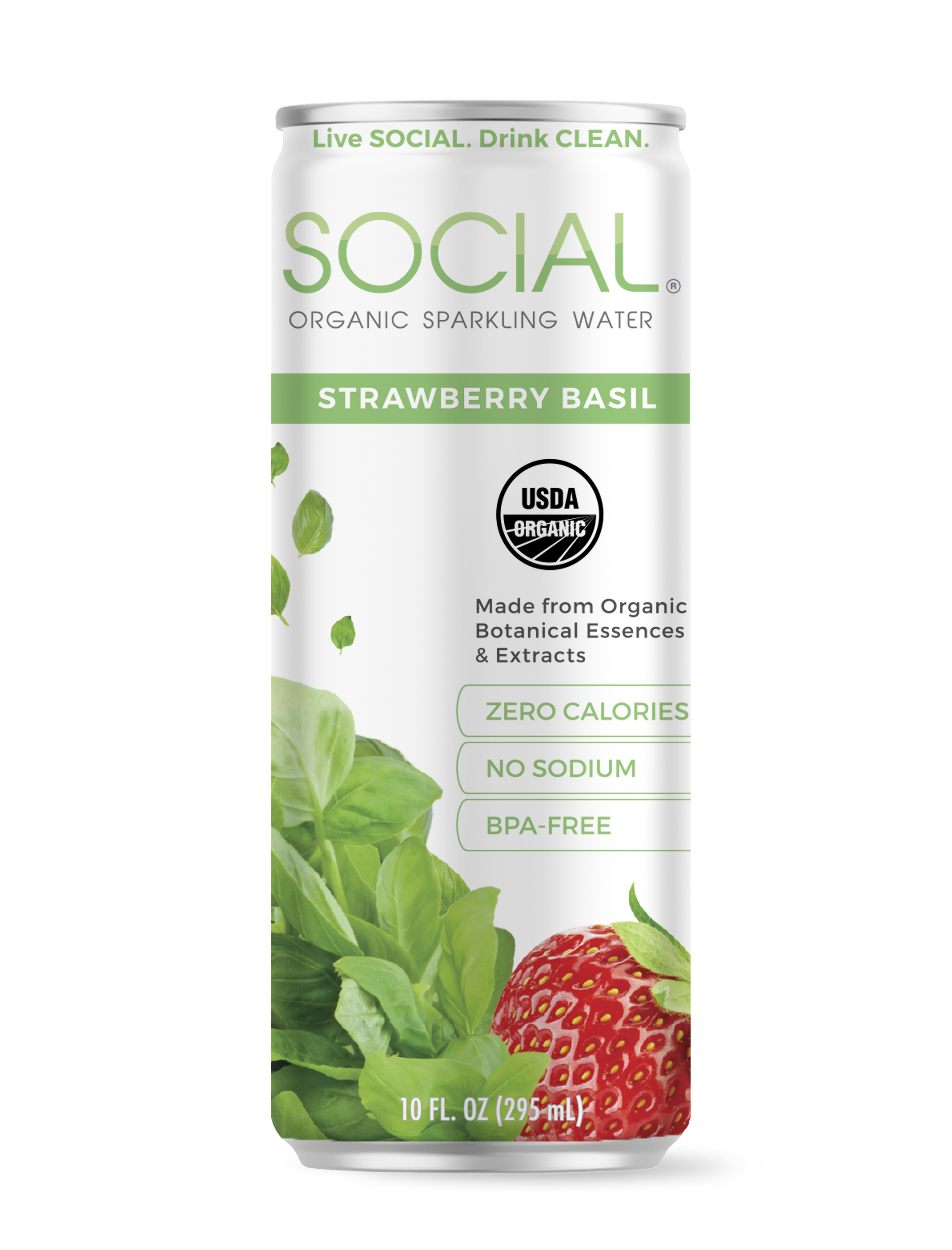 SOCIAL Strawberry Basil Sparkling Water