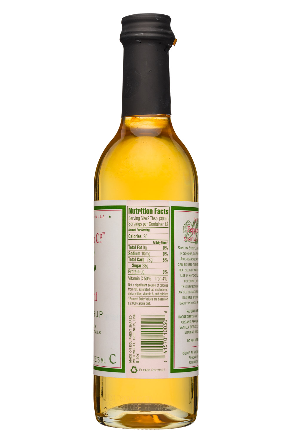 Sonoma Syrup Co.: SonomaSyrupCo-13oz-SimpleSyrup-Peppermint-Facts