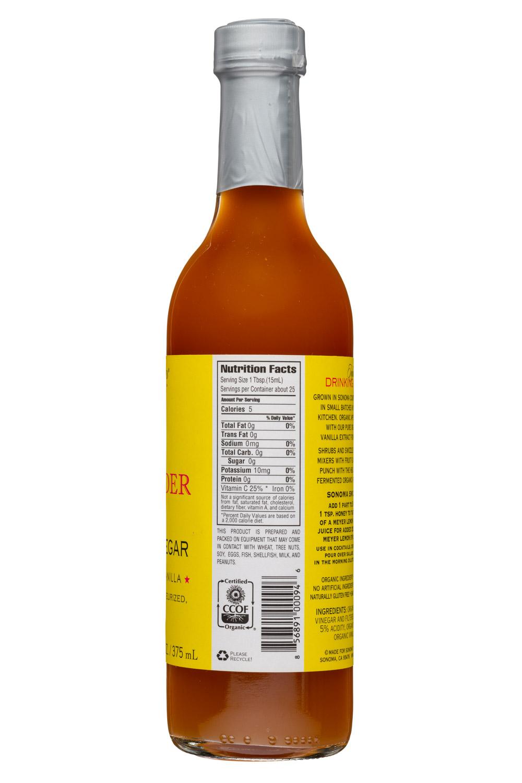 Sonoma Syrup Co.: SonomaCo-13oz-ACV-LemonVanilla-Facts
