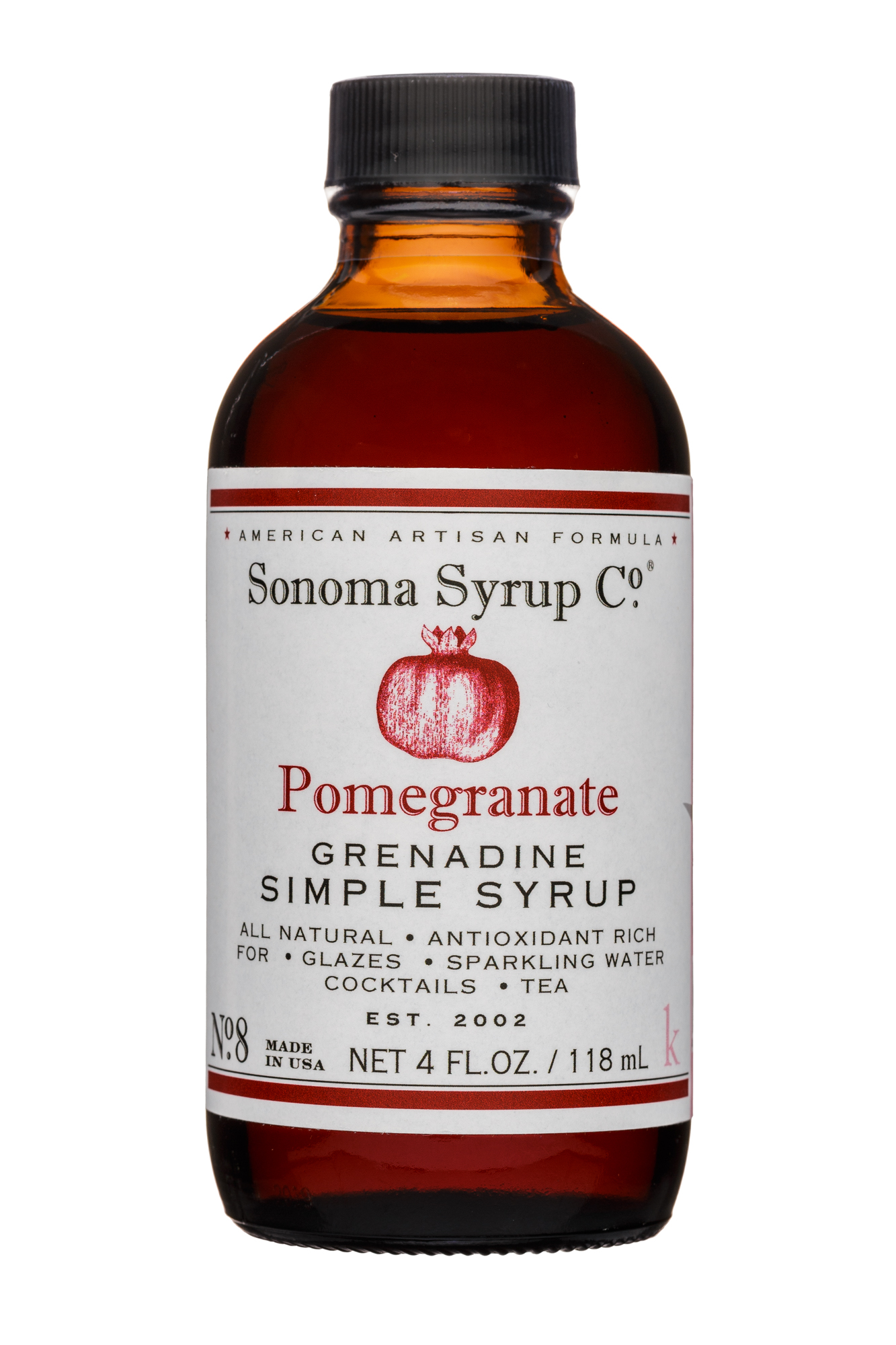 Sonoma Syrup Co.: SonomaSyrupCo-4oz-SimpleSyrup-Pomegranate-Front