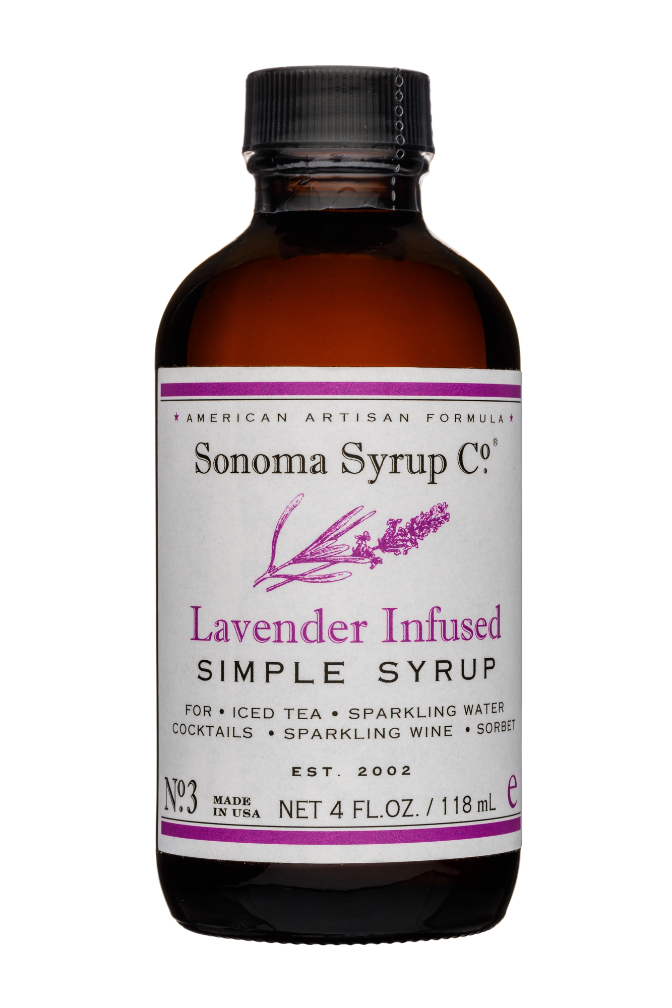 Sonoma Syrup Co.: SonomaSyrupCo-4oz-SimpleSyrup-LavenderInfused-Front