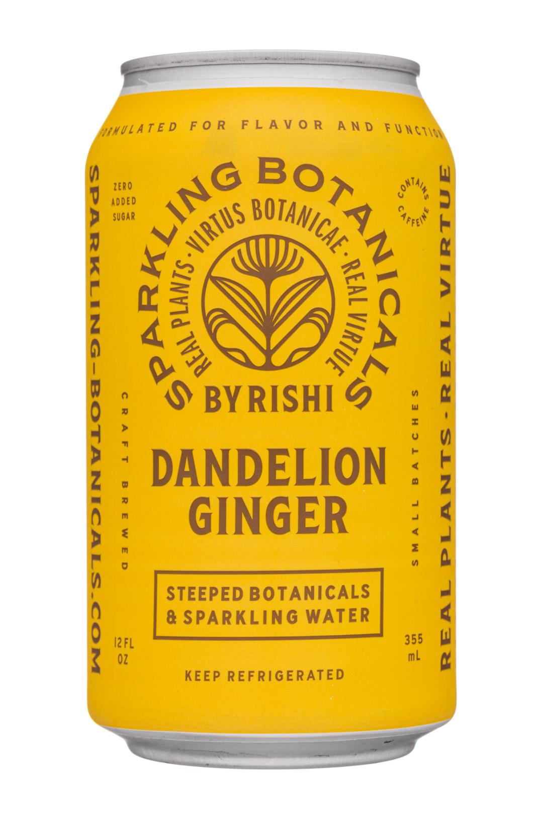 Sparkling Botanicals By Rishi: Rishi-12oz-2020-SparklingBotanicals-DandelionGinger-Front