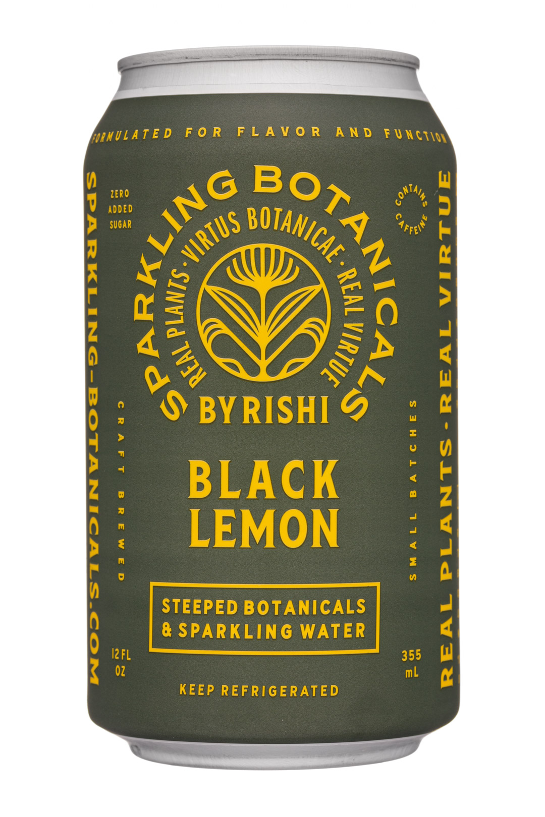 Sparkling Botanicals By Rishi: Rishi-12oz-2020-SparklingBotanicals-BlackLemon-Front