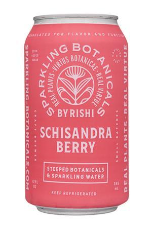 Sparkling Botanicals By Rishi: Rishi-12oz-2020-SparklingBotanicals-SchisandraBerry-Front