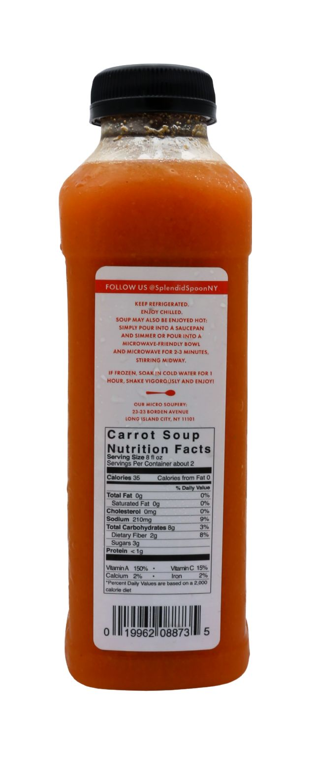 Splendid Spoon Fresh Vegan Drinkable Soup: SS CarrotTum Facts
