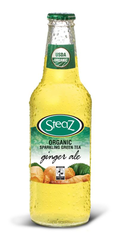 Steaz Sparkling Green Tea: Steaz Sparkling Green Tea: Ginger Ale