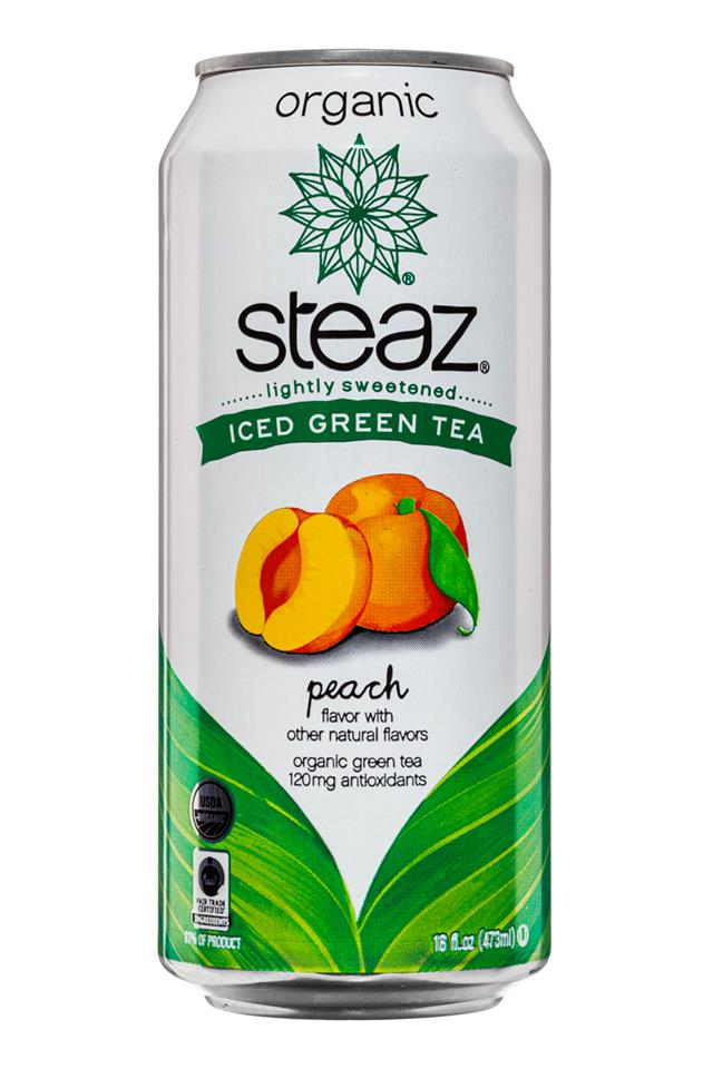 Steaz Organic Iced Teaz: Steaz-IcedGreenTea-16oz-Peach-Front