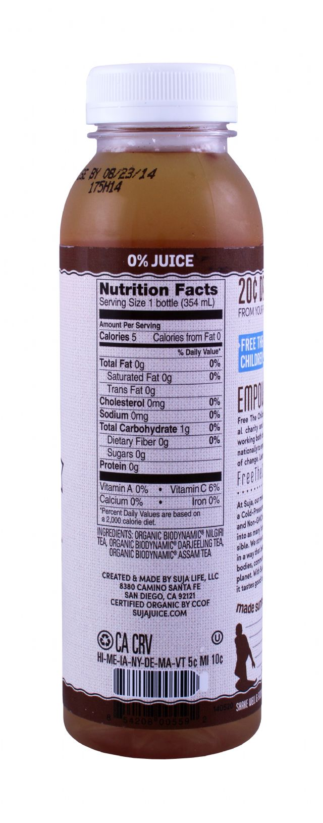 Suja Elements Cold Brew Tea: Suja Unsweetened Facts