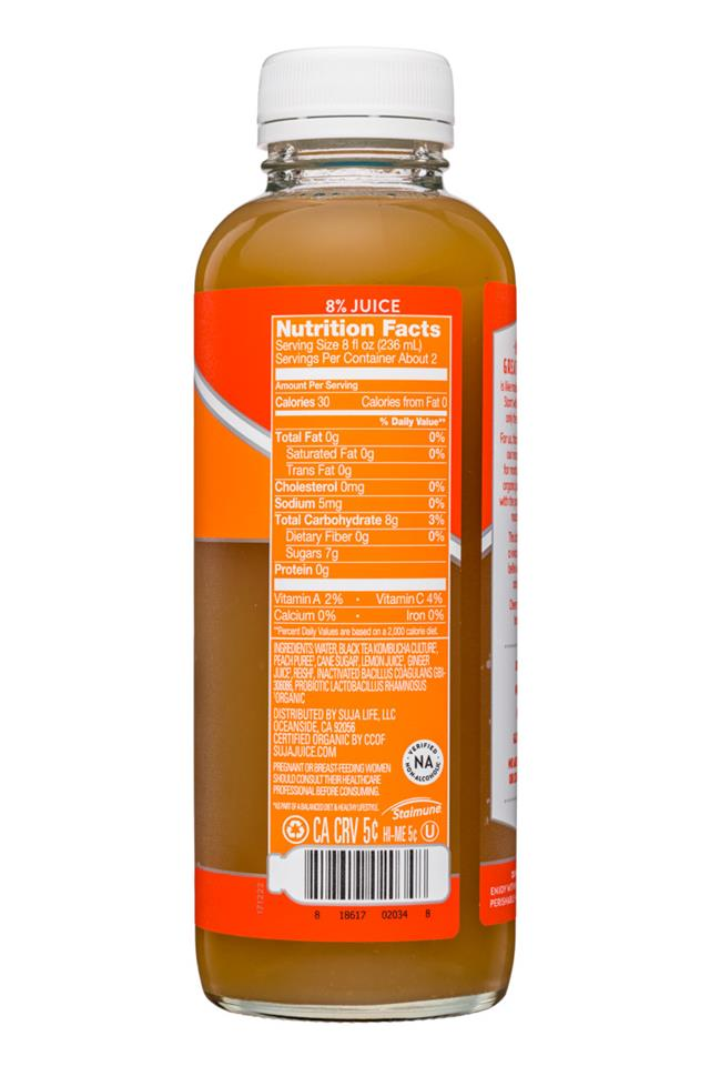 Suja Kombucha: Suja-15oz-Kombucha-PeachGinger-Facts
