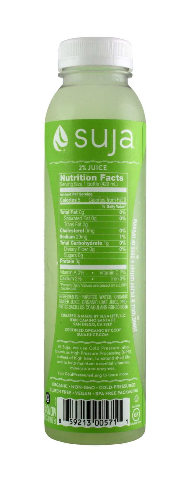 Suja Probiotic Water: Suja GingLime Facts