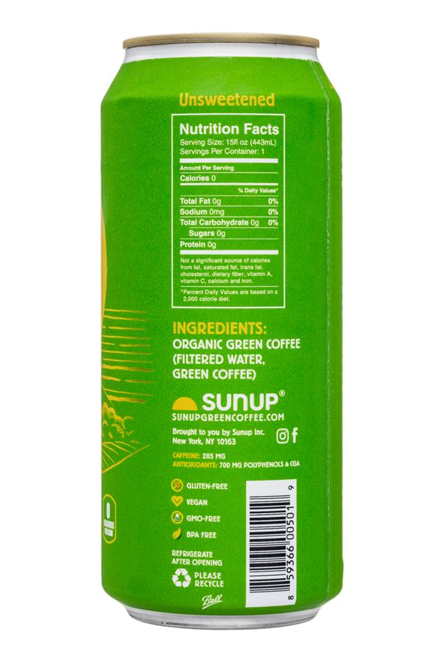SunUp: Sunup-15oz-PureGreenCoffee-Unsweet-Facts
