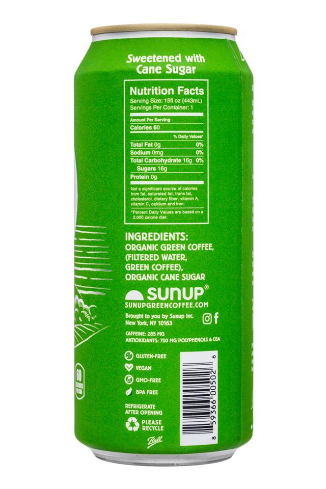 SunUp: Sunup-15oz-PureGreenCoffee-CaneSugar-Facts