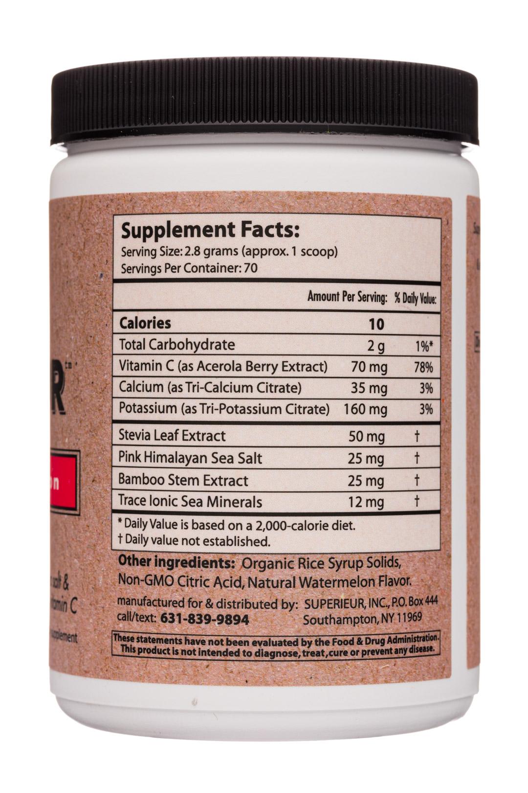 Superieur [Electrolytes]: Superieur-7oz-Electrolytes-FreshWatermelon-Facts