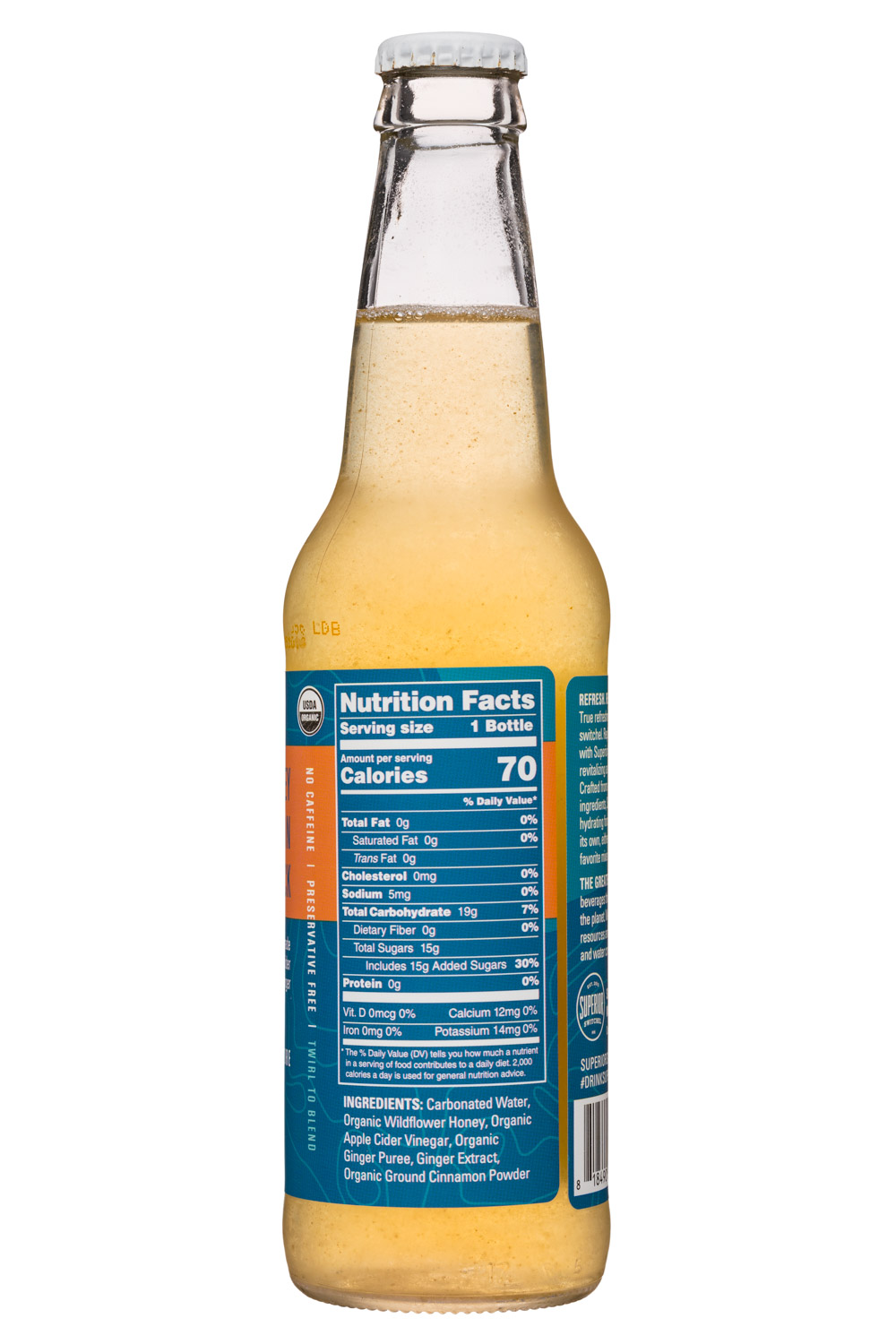 Superior Switchel: Superior-12oz-Switchel-HoneyCinnKick-Facts