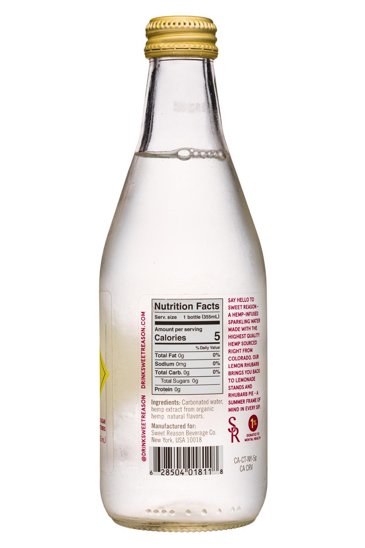 Sweet Reason: SweetReason-12oz-SparklingWater-LemonRhubarb-Facts