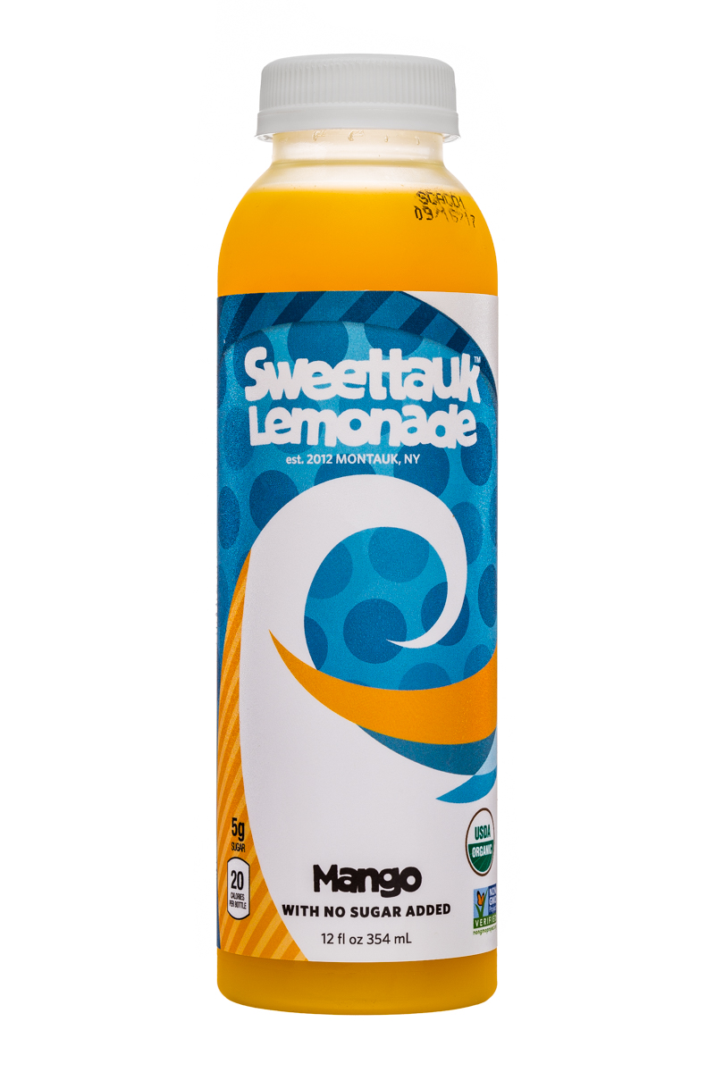 Sweet'tauk Lemonade: Sweettauk-12oz-Lemonade-Mango-Front