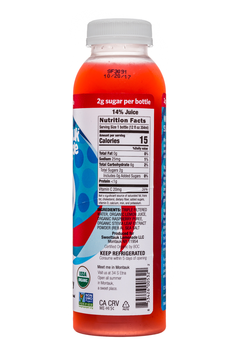 Sweet'tauk Lemonade: Sweettauk-12oz-Lemonade-Raspberry-Facts