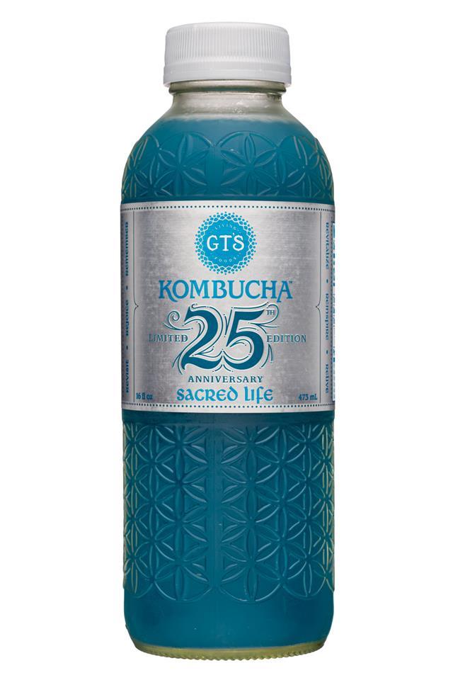GT's Kombucha: GTs-16oz-25thAnniversary-SacredLife-Front