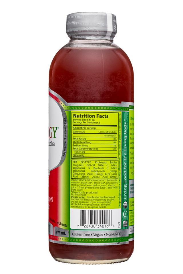GT's Kombucha: GTs-Synergy-16oz-WatermelonWonder-Facts