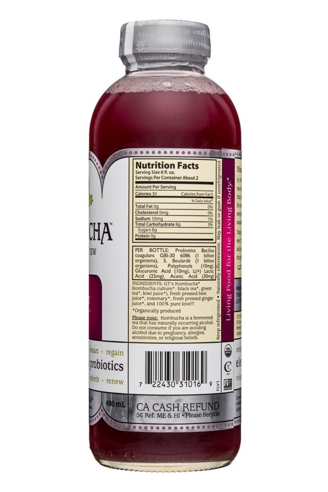 GT's Kombucha: GTs-Kombucha-16oz-HeartBeet-Facts