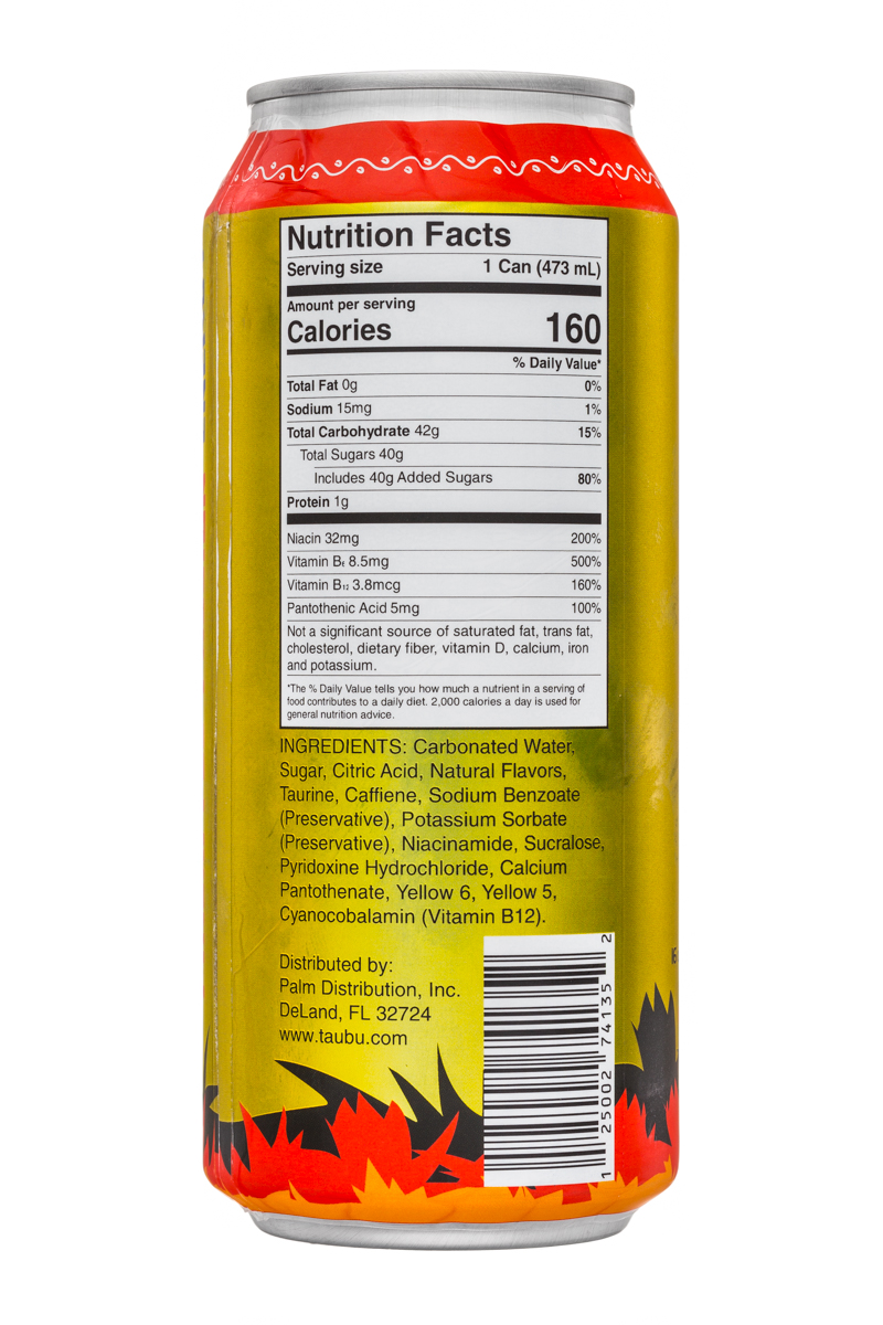 Taubu: TauBu-16oz-Energy-PineapplePassion-Facts