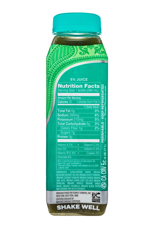 Temple Turmeric Raw Vinegar Drink: TempleTurmeric-10oz-RVD-GreenAlkalizer-Facts