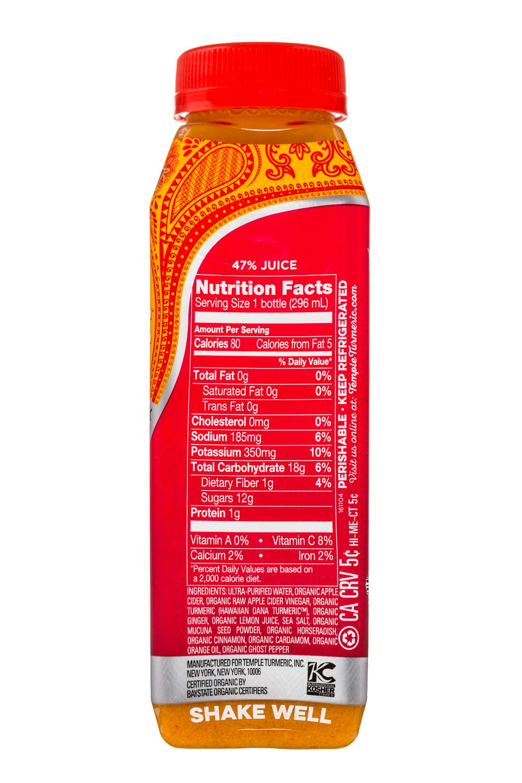 Temple Turmeric Raw Vinegar Drink: TempleTurmeric-10oz-RVD-PureFireTonic-Facts