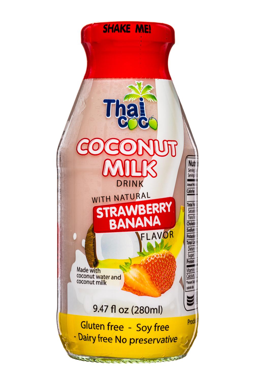 Thai Coco: ThaiCoco-CoconutMilk-9oz-StrawberryBanana-Front