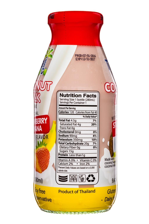 Thai Coco: ThaiCoco-CoconutMilk-9oz-StrawberryBanana-Facts
