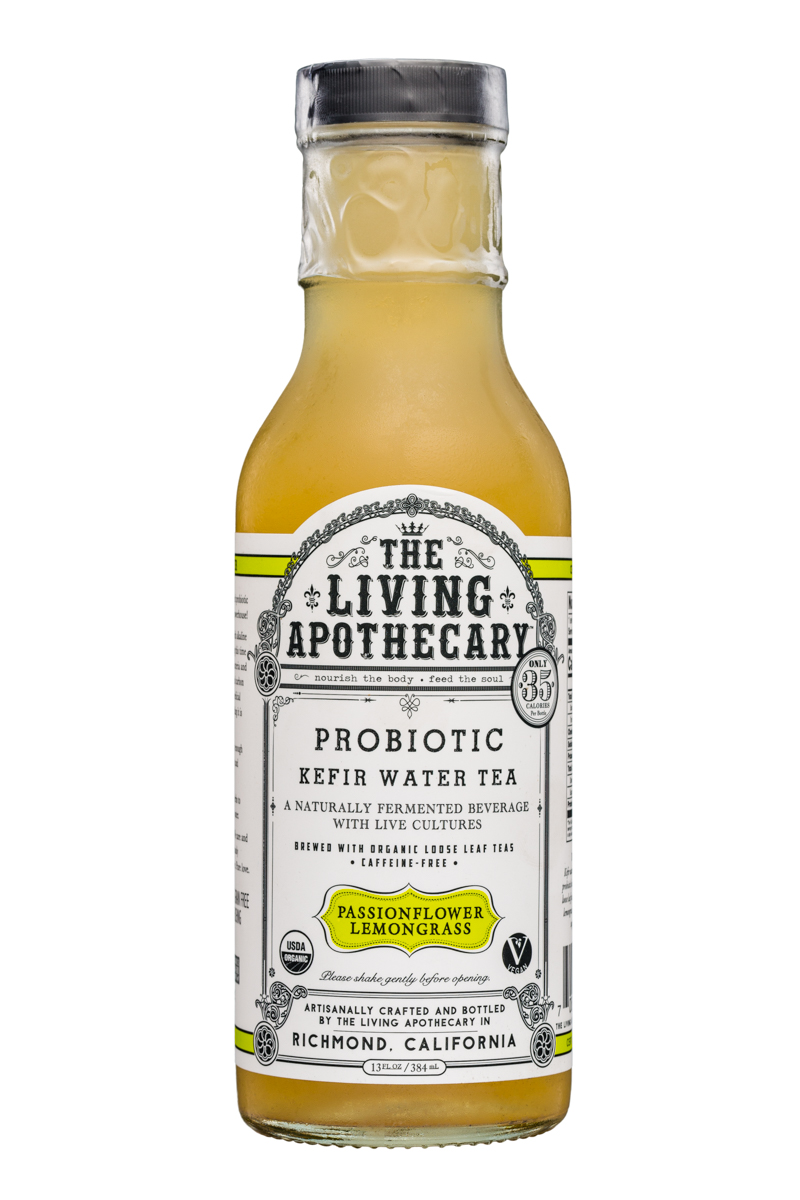 The Living Apothecary: TheLivingApothecary-13oz-ProbioticKefirWarerTea-PassionflowerLemongrass-Front